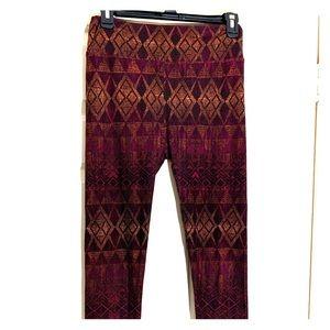 LuLa Roe leggings w/argyle burgandy/black/gold